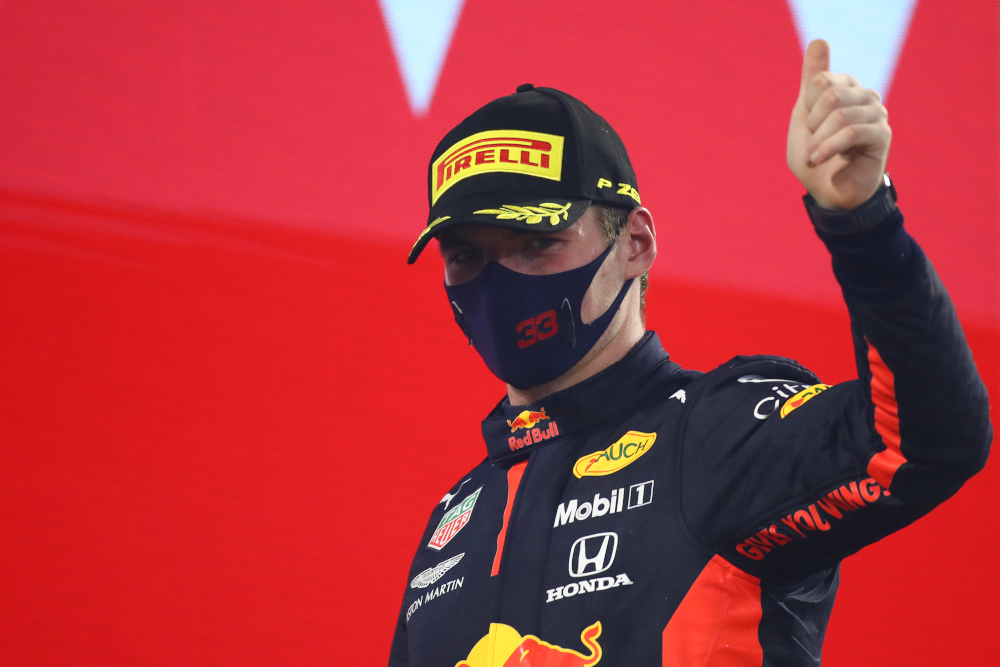 Red Bull's Dutch driver Max Verstappen gestures on the podium after the Bahrain Formula One Grand Prix at the Bahrain International Circuit in the city of Sakhir November 29, 2020. ― AFP pic