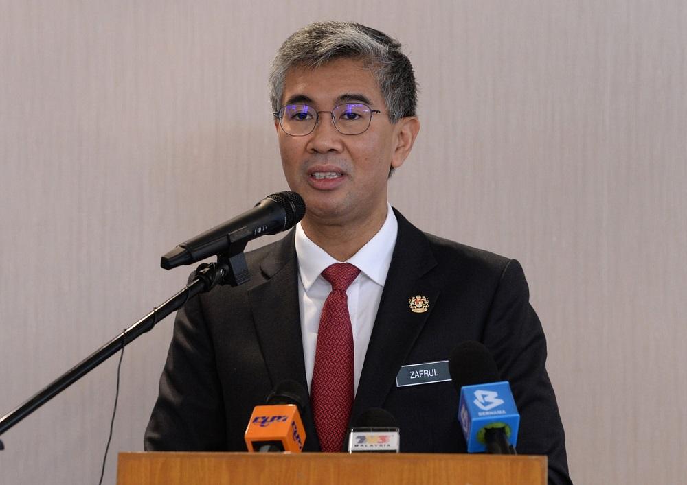 Finance Minister Datuk Seri Tengku Zafrul Abdul Aziz at a press conference in Putrajaya May 8, 2020. — Bernama pic