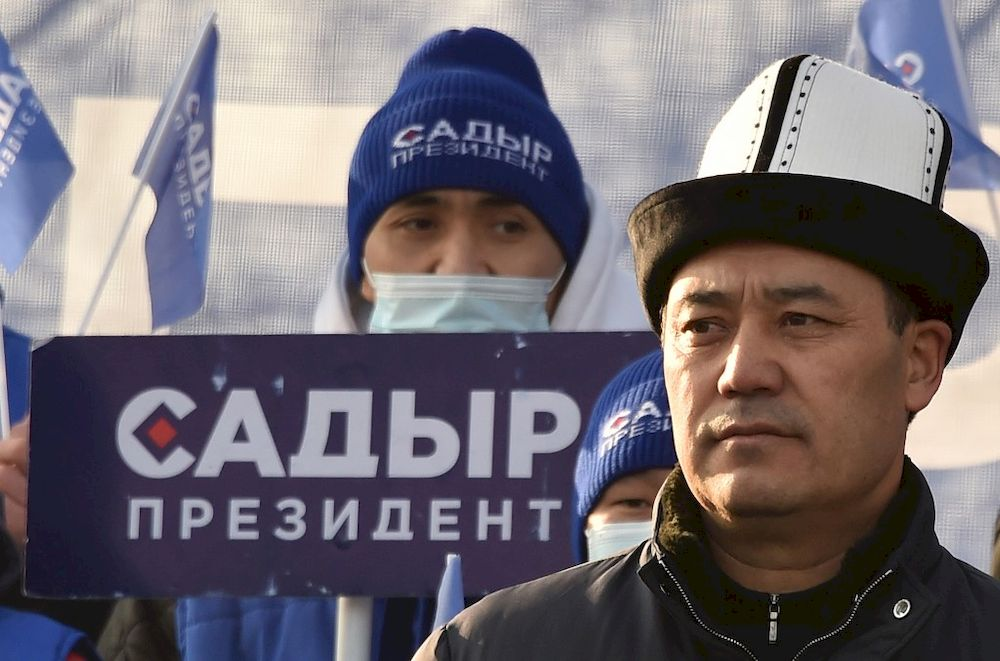 Kyrgyz presidential candidate Sadyr Japarov wearing the national Kalpak felt hat attends a rally in Bishkek on January 8, 2021. — AFP pic