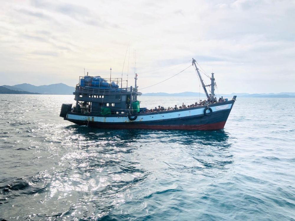 A boat carrying suspected ethnic Rohingya migrants is seen detained in Malaysian territorial waters, in Langkawi April 5, 2020. — Reuters pic