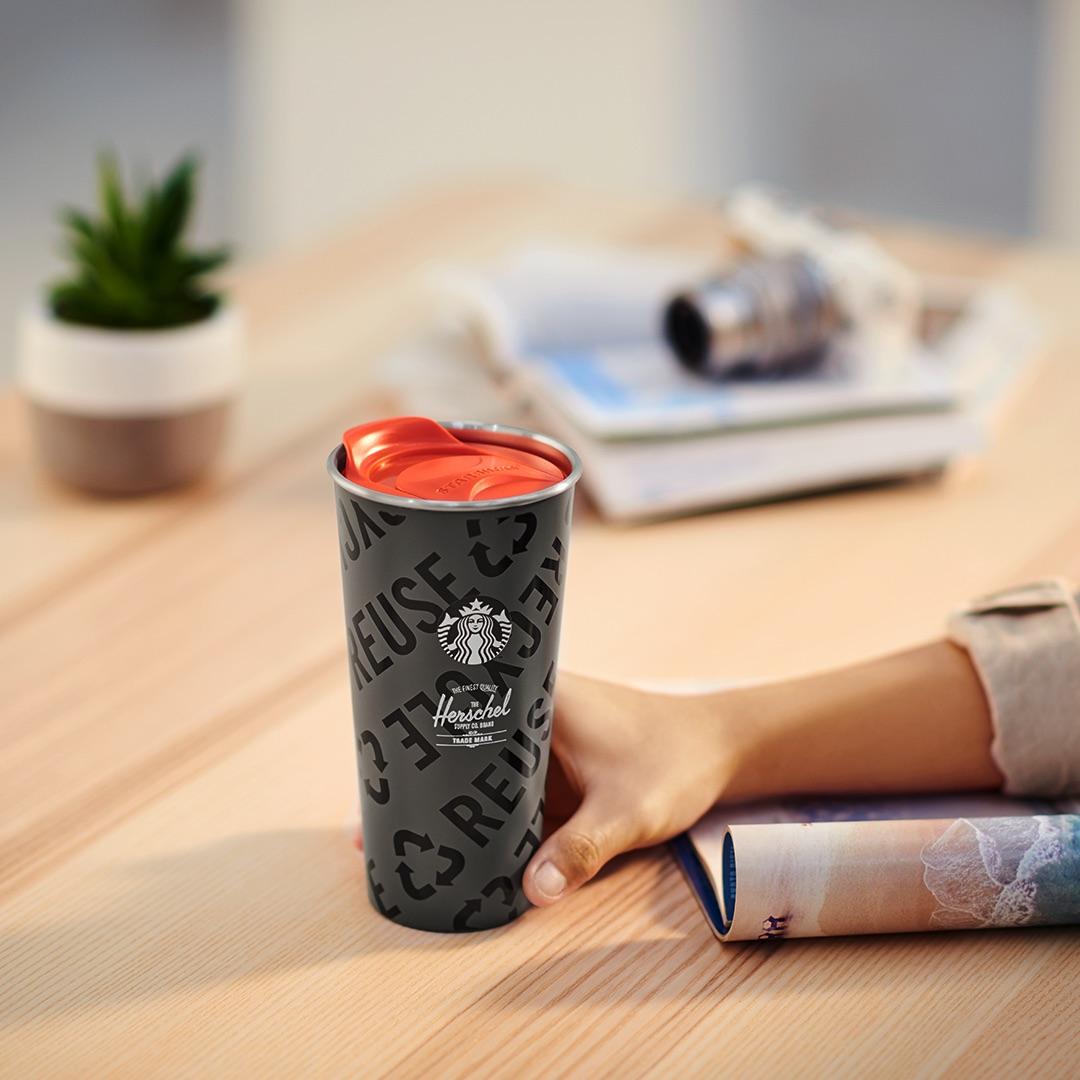 """随手杯上印有""""Reduce Reuse Recycle""""字眼,唤醒大家环保意识。-图Starbucks提供"""