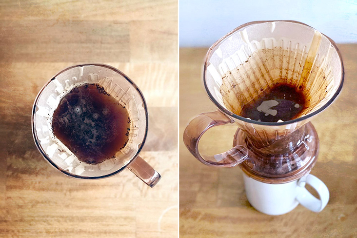 Freshly brewed filter coffee at home.