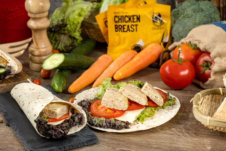 One way to enjoy Oomph's Chicken Breast Patties is to roll it up in a wholegrain pita bread.