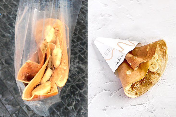 Takeaway peanut butter and banana crêpe, to enjoy in the comfort of home.
