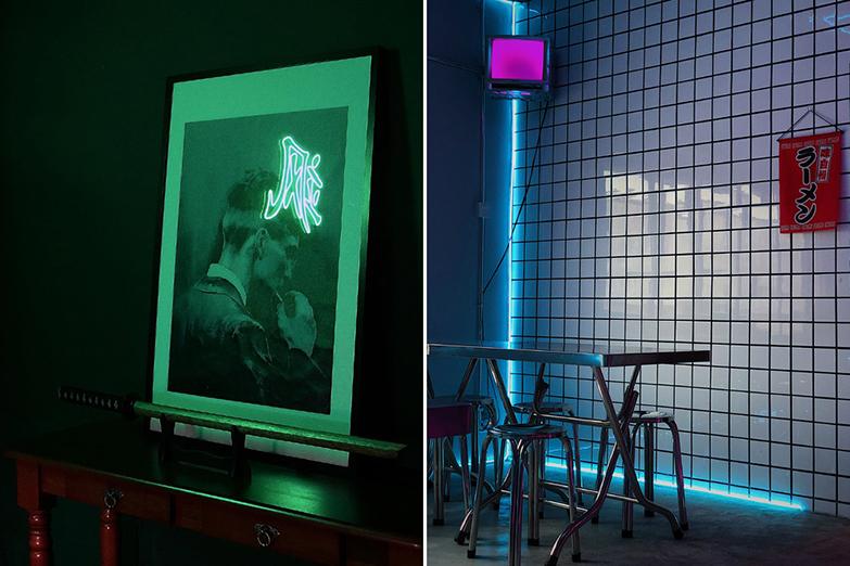 A touch of neon permeates spacegrey's minimalist décor.