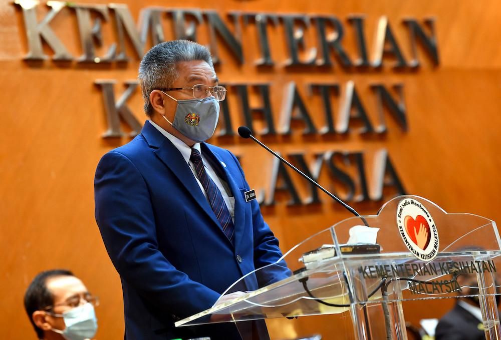 Health Minister Datuk Seri Dr Adham Baba giving his speech at the Ministry of Health's (MOH) New Year Mandate ceremony in Putrajaya January 12, 2021. — Bernama pic