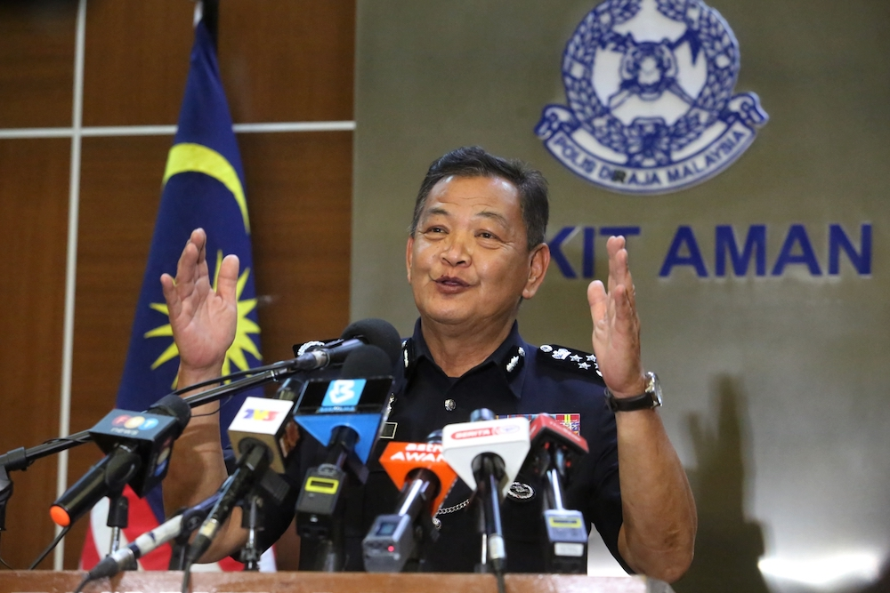 File photo of Inspector-General of Police Tan Sri Abdul Hamid Bador speaking at a press conference on MCO 2.0 in Kuala Lumpur January 12, 2021. — Picture by Choo Choy May