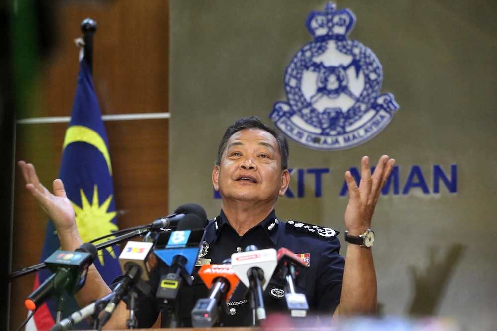 Inspector-General of Police Tan Sri Abdul Hamid Bador speaks at a press conference on MCO 2.0 in Kuala Lumpur January 12, 2021. — Picture by Choo Choy May