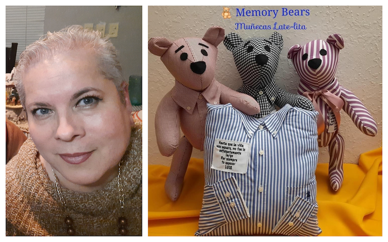 Guerrero (left) has been designing teddy bears made from Covid-19 victims' clothing for relatives to hold onto. — Picture via Facebook/MuñecasLate-lita