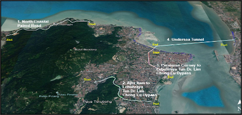 A map showing the alignments of the four packages under the RM6.3 billion three major roads and undersea tunnel project in Penang. — Picture courtesy of the Penang Chief Minister's Office