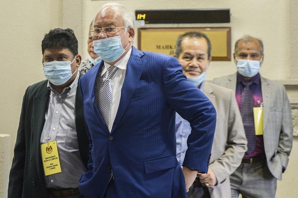 Datuk Seri Najib Razak is pictured at the Kuala Lumpur High Court on January 5, 2021. — Picture by Miera Zulyana