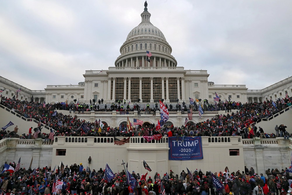 Supporters of US President Donald Trump gather at the west entrance of the Capitol during a 'Stop the Steal' protest outside of the Capitol building in Washington DC January 6, 2021. — Reuters pic