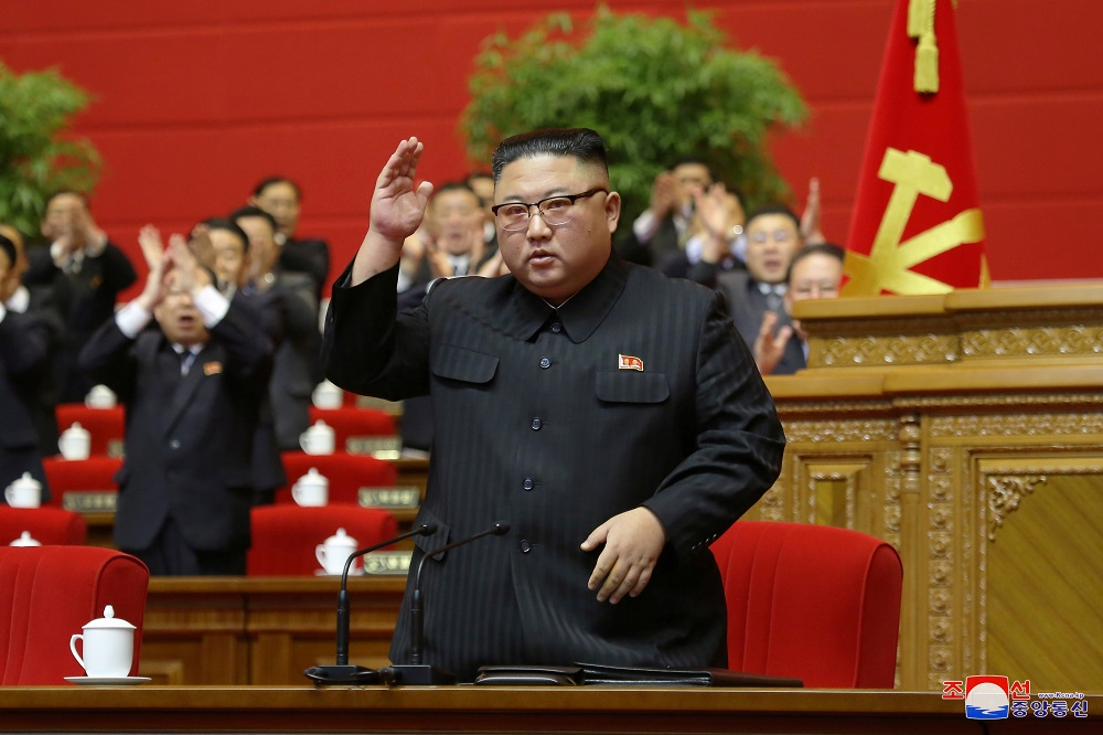 North Korean leader Kim Jong-un receives applause during the 8th Congress of the Workers' Party in Pyongyang January 13, 2021. — KCNA pic via Reuters