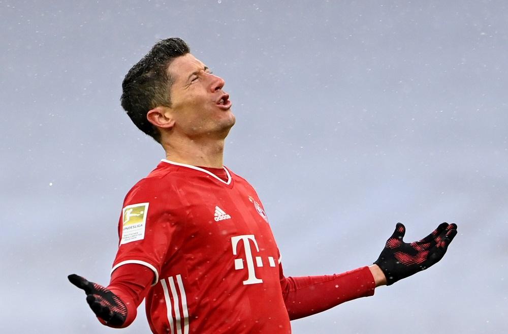 Robert Lewandowski netted his 26th league goal of the season for Bayern, but Frankfurt deserved the win. — Pool pic via Reuters