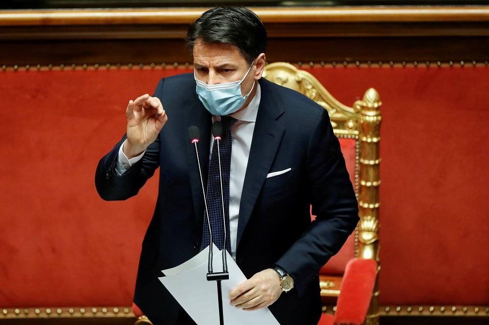 Italian Prime Minister Giuseppe Conte gestures as he speaks ahead of a confidence vote at the upper house of parliament after former Prime Minister Matteo Renzi pulled his party out of government in Rome