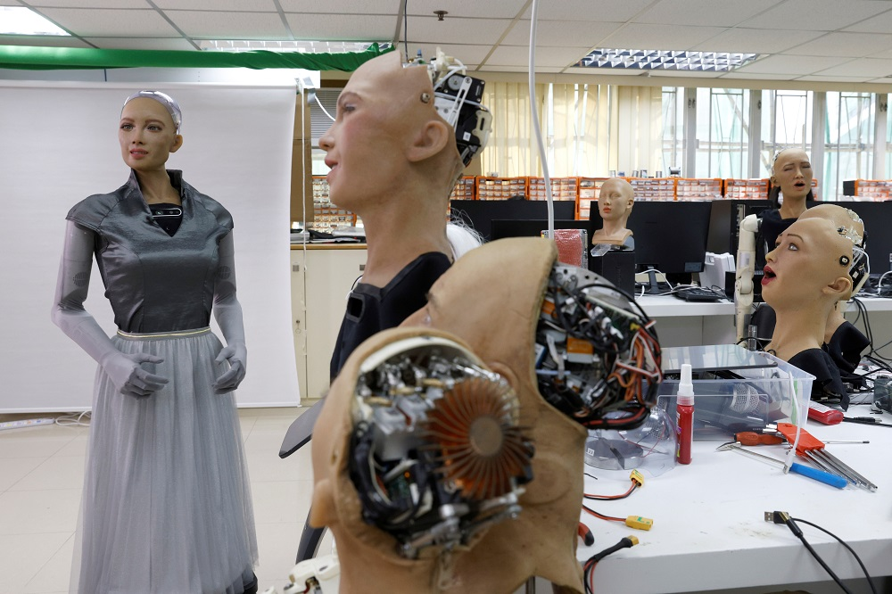 Humanoid robot Sophia developed by Hanson Robotics is pictured at the company's lab in Hong Kong January 12, 2021. — Reuters pic