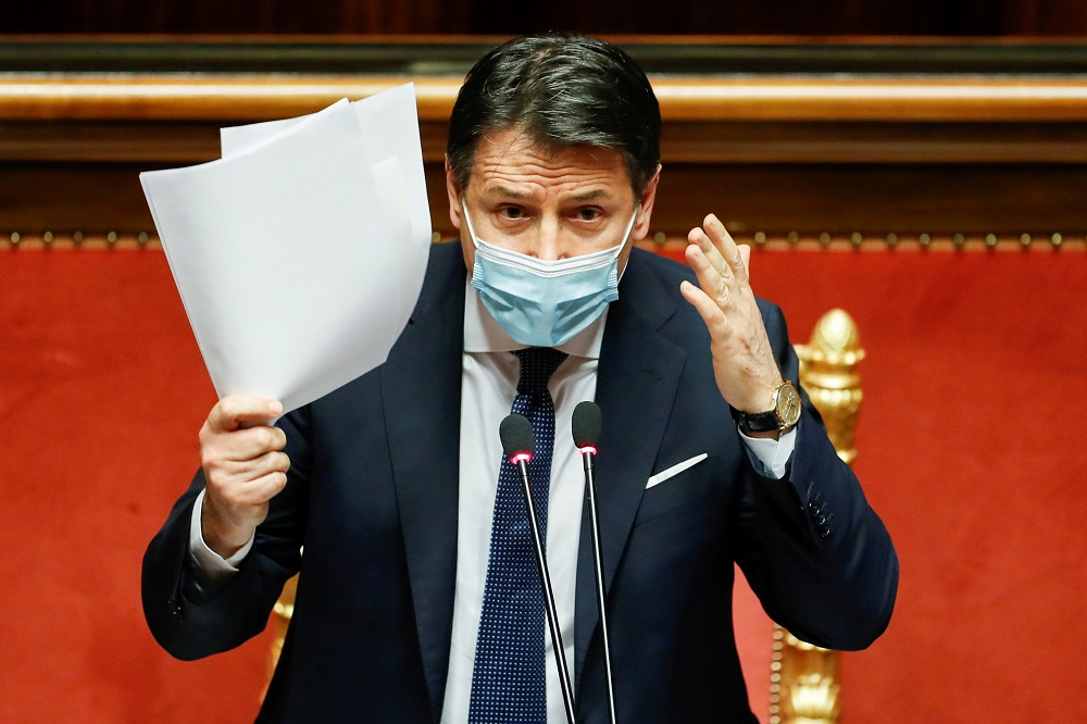 Italian Prime Minister Giuseppe Conte's exit, which follows weeks of tensions between him and Renzi over the government's handling of the pandemic, barely caused a ripple on the financial markets. — Reuters pic