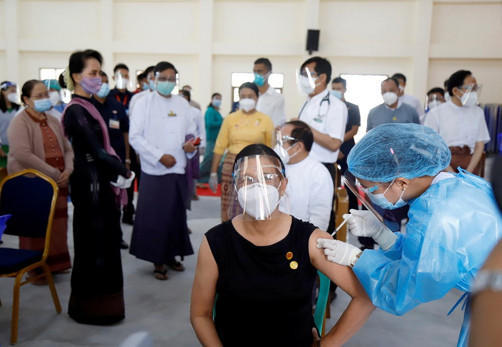 Myanmar State Counsellor Aung San Suu Kyi visits a hospital as medical workers receive the AstraZeneca's Covishield coronavirus disease vaccine in Naypyitaw January 27, 2021. — Reuters pic