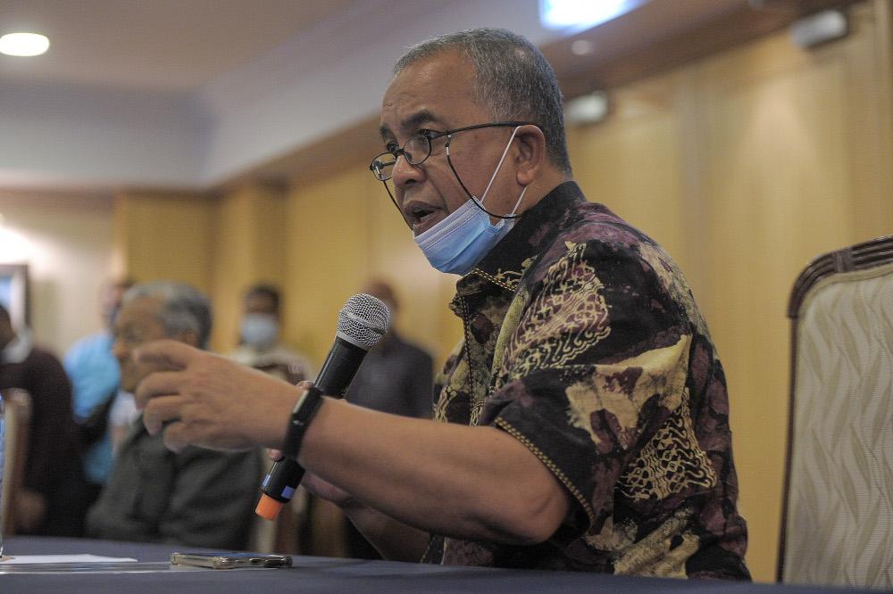 Pejuang secretary-general Datuk Amiruddin Hamzah speaks to the media during a press conference at Perdana Leadership Foundation in Putrajaya January 7, 2021. — Picture by Shafwan Zaidon