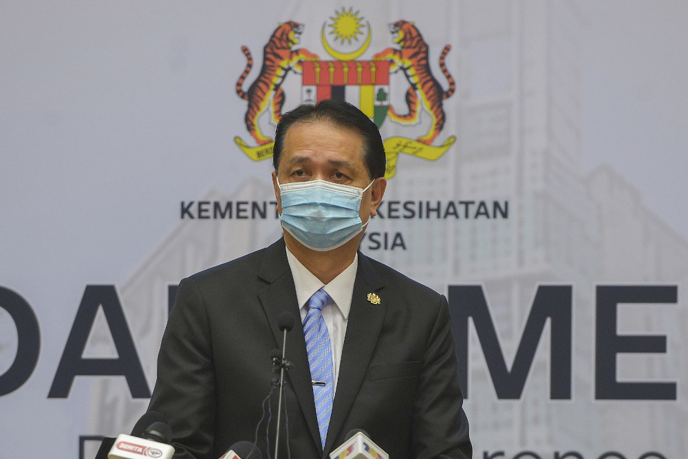 Health director-general Tan Sri Dr Noor Hisham Abdullah speaks during a press conference in Putrajaya on January 19, 2021. — Picture by Miera Zulyana