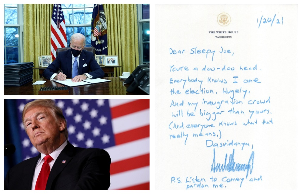 Twitter had a field day trying to guess what Trump said to Biden in a private letter.  —  Pictures by Reuters, Twitter/rsrobin1