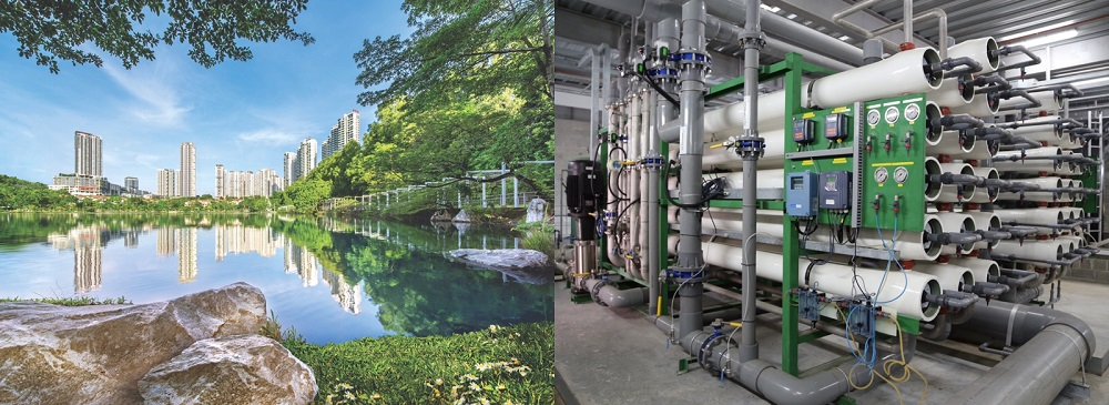 (Left) The lakes ensure Sunway City's taps don't run dry during water cuts. (Right) the water treatment process adopts a hybrid of the state-of-the-art ultrafiltration and reverse osmosis processes. — Picture courtesy of Sunway City Kuala Lumpur