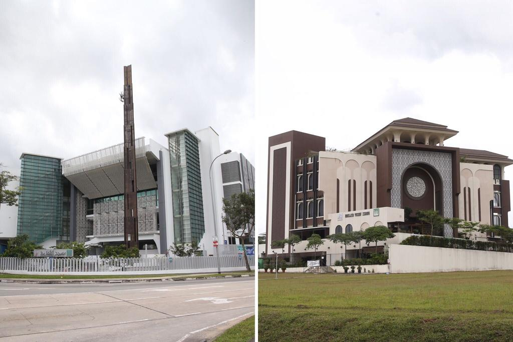 The secondary school student had hatched a plan to attack the Assyafaah Mosque (left) along Admiralty Lane and Yusof Ishak Mosque in Woodlands, the Internal Security Department said. —TODAY pic