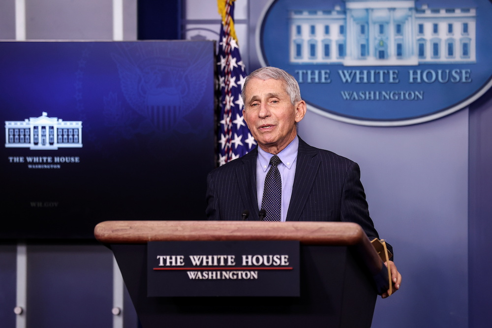 NIH National Institute of Allergy and Infectious Diseases Director Anthony Fauci addresses the daily press briefing at the White House in Washington, US January 21, 2021. — Reuters pic