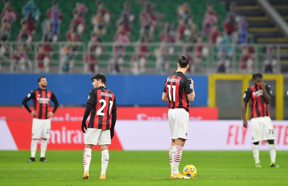 AC Milan's Zlatan Ibrahimovic with teammates after Atalanta's third goal, January 24, 2021. — Reuters pic