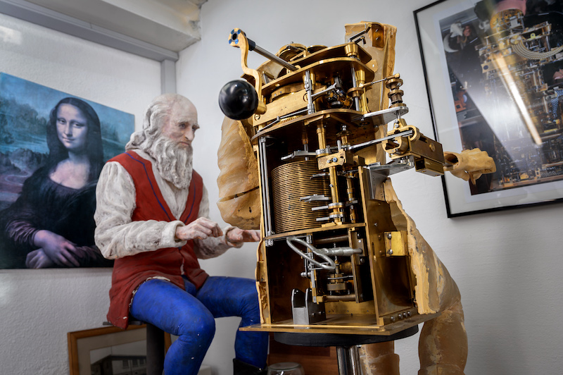 A picture taken on January 19, 2021 shows the back of a moving mechanical artwork representing Leonardo da Vinci writing in the workshop of Swiss master Francois Junod in Sainte-Croix. — AFP pic