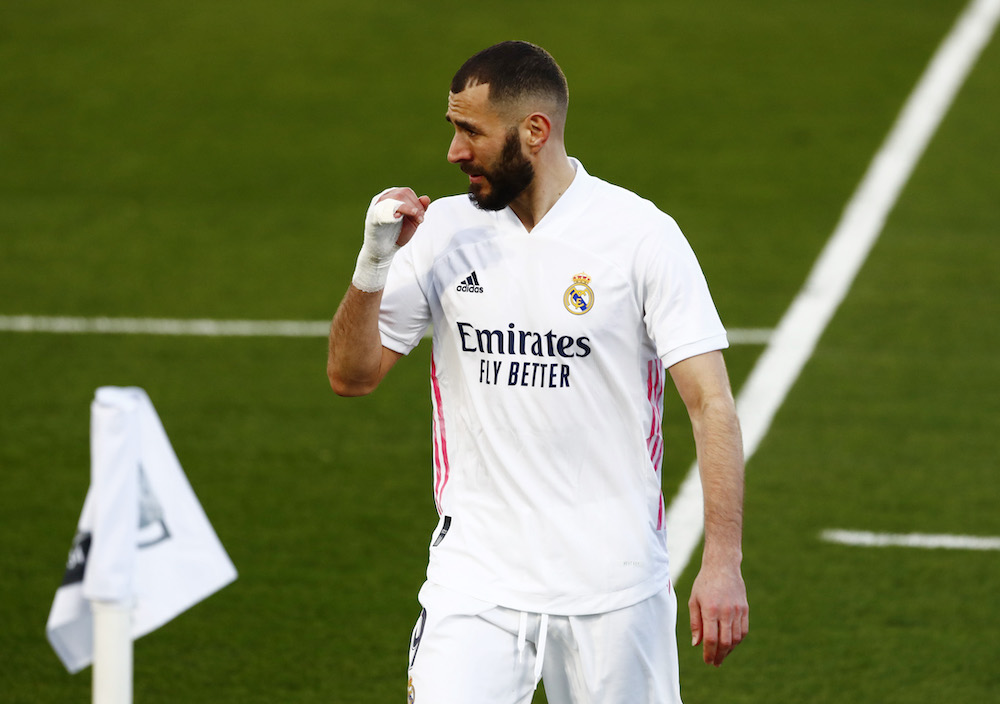 Real Madrid's Karim Benzema during the match against Levante, January 31, 2021. — Reuters pic