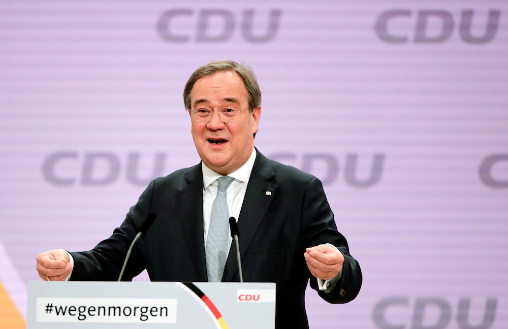 The new elected Christian Democratic Union (CDU) party leader Armin Laschet reacts after being elected at the party's 33rd congress, held online because of the coronavirus disease pandemic, in Berlin, Germany, January 16, 2021. — Reuters pic