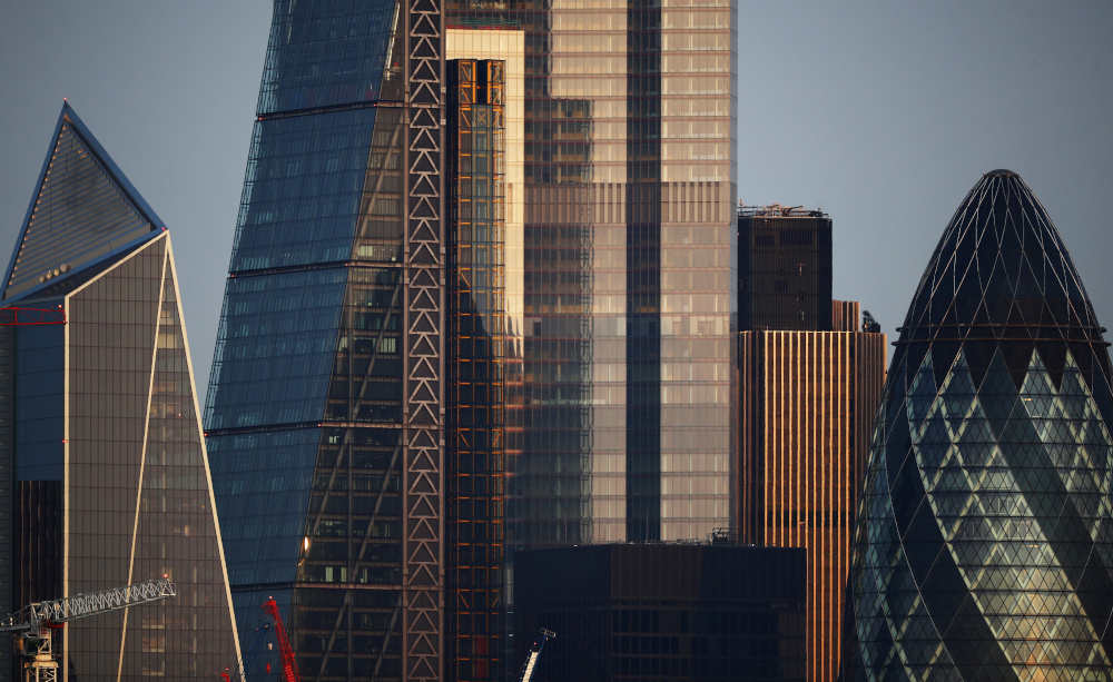 Skyscrapers in The City of London financial district are seen in London September 14, 2020. — Reuters pic