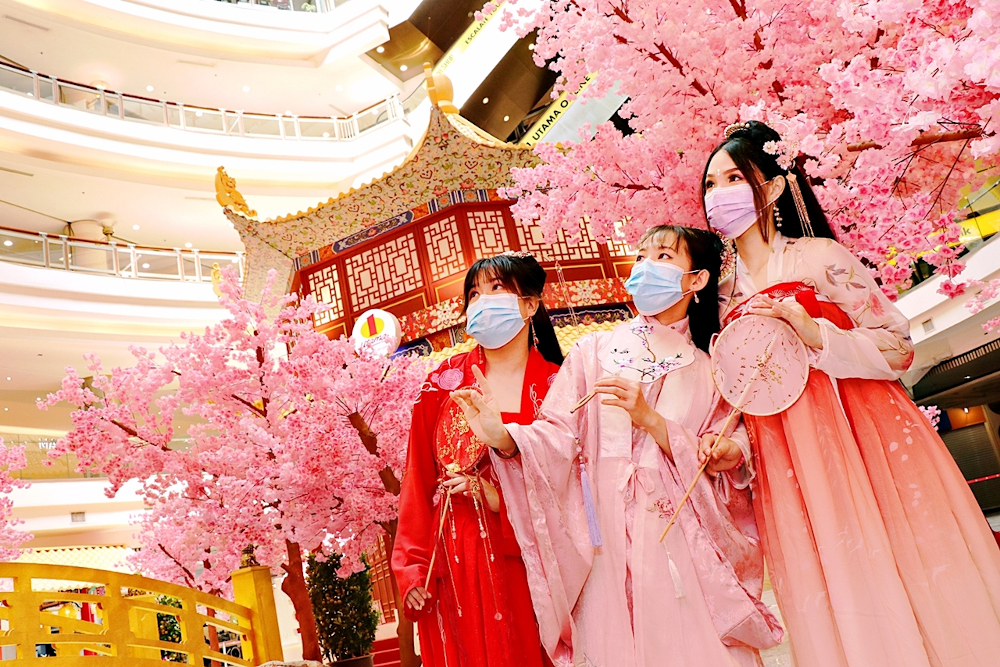 The cherry blossoms are in full bloom at One Utama this Chinese New Year. — Picture courtesy of One Utama