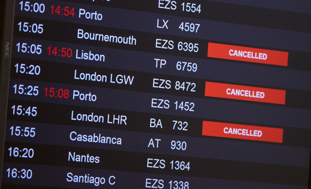 Flights from Britain are announced cancelled at Cointrin airport during the outbreak of the coronavirus disease in Geneva, Switzerland, December 21, 2020. — Reuters pic