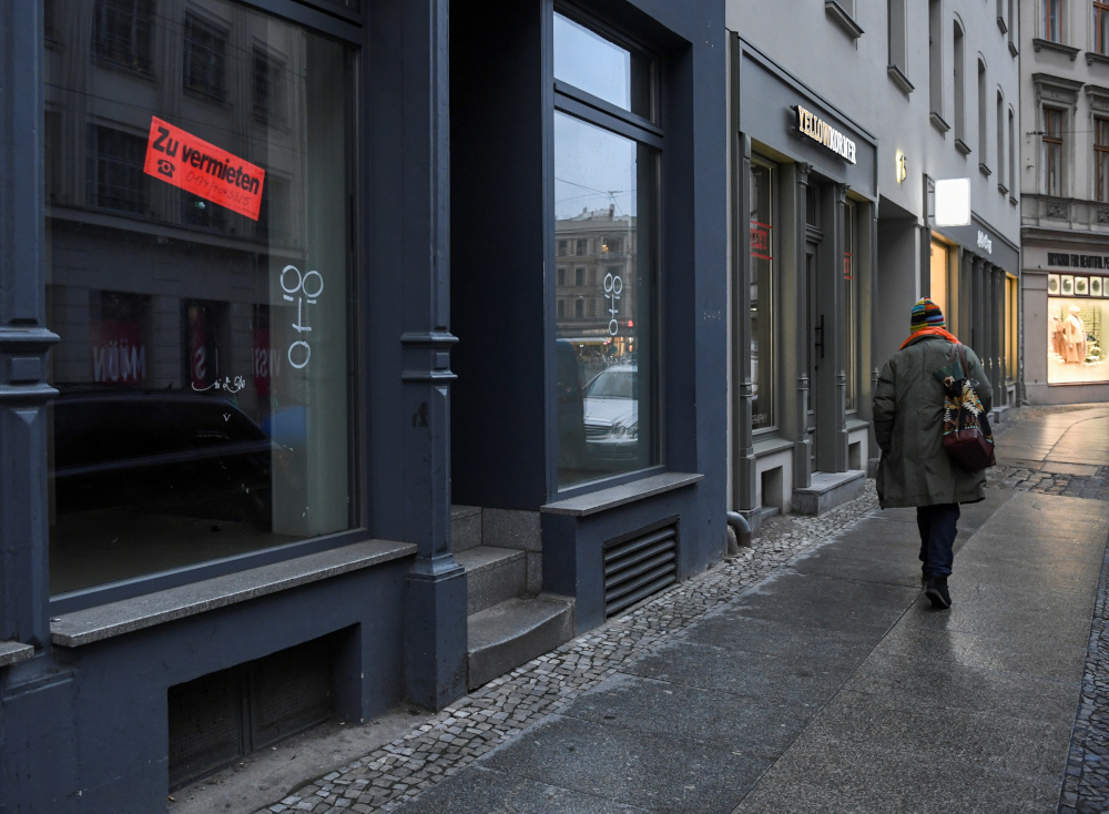 A vacant shop with a 'for rent' sign is seen in the city centre, amid the Covid-19 pandemic, in Berlin January 7, 2021. — Reuters pic