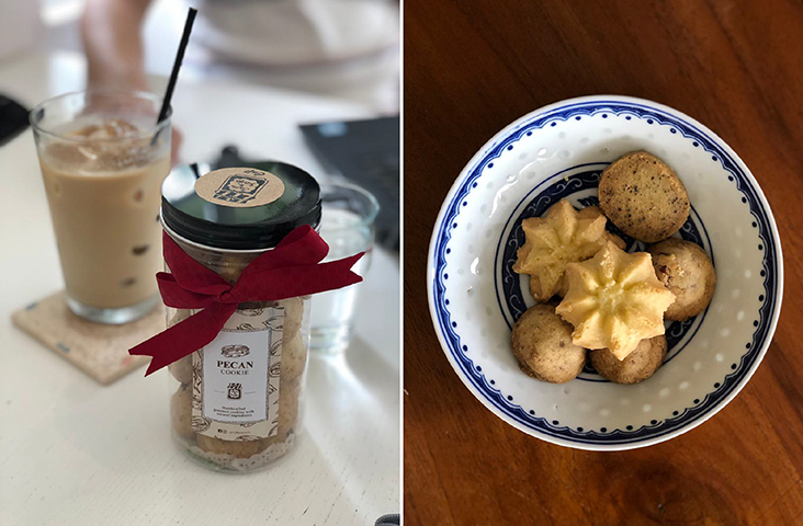 Jam & Kaya Cafe pecan cookies are a big treat for their nutty, crumbly texture (left). Relish the pecan cookies or the butter cookies from Jam & Kaya for a teatime treat (right) — Pictures by Goh Li Kee