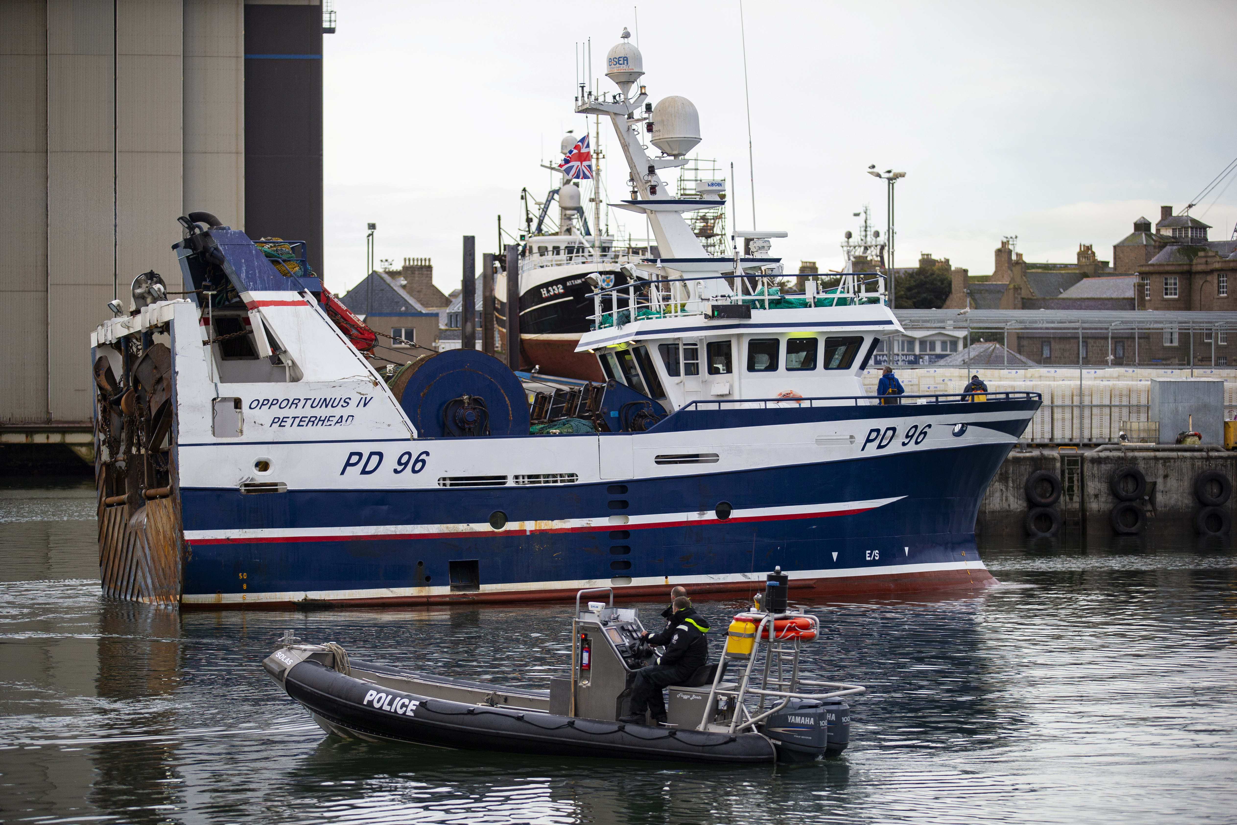 The Opportunus IV fishing trawler is seen at Peterhead harbour during a visit of Britain's Prime Minister Boris Johnson (not pictured) to Peterhead Fish Market in Peterhead, Scotland, Britain September 6, 2019. — Pool picture via Reuters