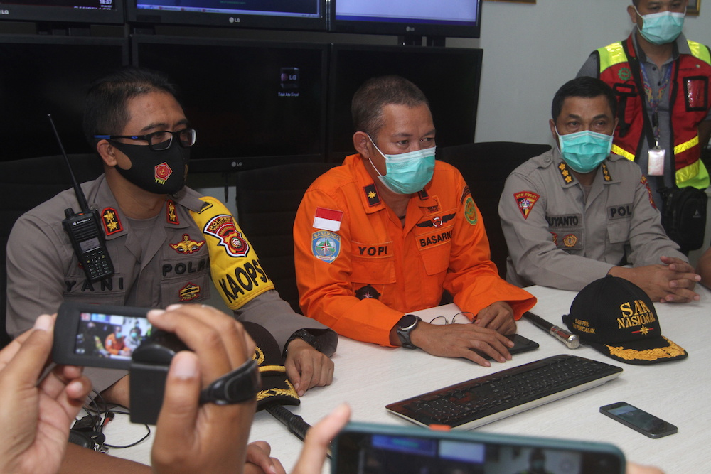 Head of Pontianak Basarnas, Yopi, gives a speech during a conference after Sriwijaya Air Flight SJ182 with more than 50 people on board, lost contact after taking off, according to local media at Supadio Airport, Kubu Raya, West Kalimantan Province, Indon