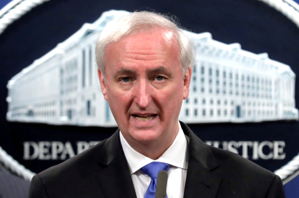 Acting US Attorney General Jeffrey Rosen speaks at a a news conference at the Justice Department in Washington, US, October 21, 2020. He was deputy attorney general at the time. — Reuters pic