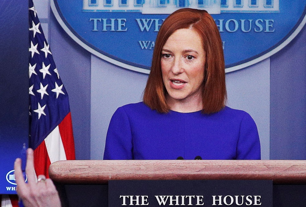 White House Press Secretary Jen Psaki takes questions from journalists in the James S. Brady Press Briefing Room at the White House in Washington January 21, 2021. ― Reuters pic
