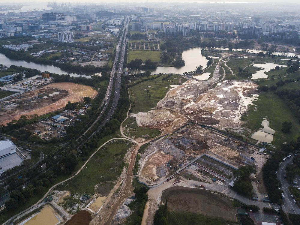 An aerial view of construction site of the Kuala Lumpur-Singapore High Speed Rail terminus in Jurong East taken on Sept 5, 2018. — TODAY pic