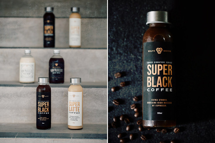 SuperBlack (extra strong black coffee) is one of Krave Koffee's bottled beverages.
