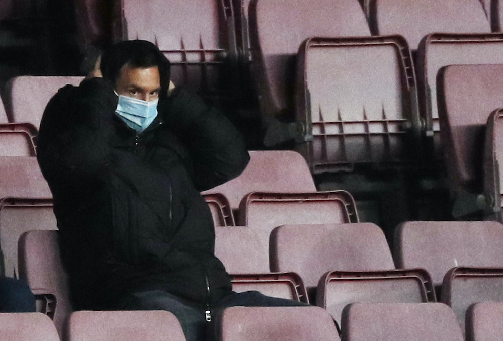 FC Barcelona's Lionel Messi in the stands at the Camp Nou in Barcelona, Spain, December 29, 2020. ― Reuters pic