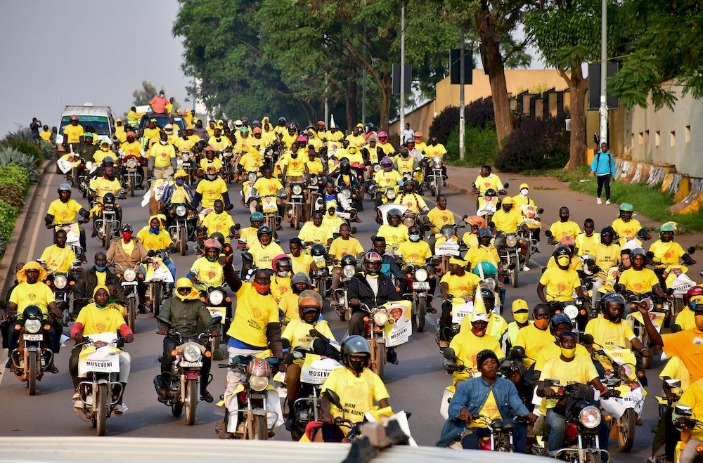 Supporters of Uganda's National Resistance Movement (NRM) party celebrate the victory of President Yoweri Museveni in the concluded general elections in Kampala, Uganda January 16, 2021. — Reuters pic