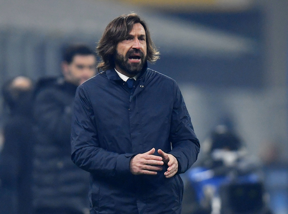 Juventus coach Andrea Pirlo during the match between Juventus and Inter Milan at the San Siro Stadium in Milan, January 17, 2021. — Reuters pic