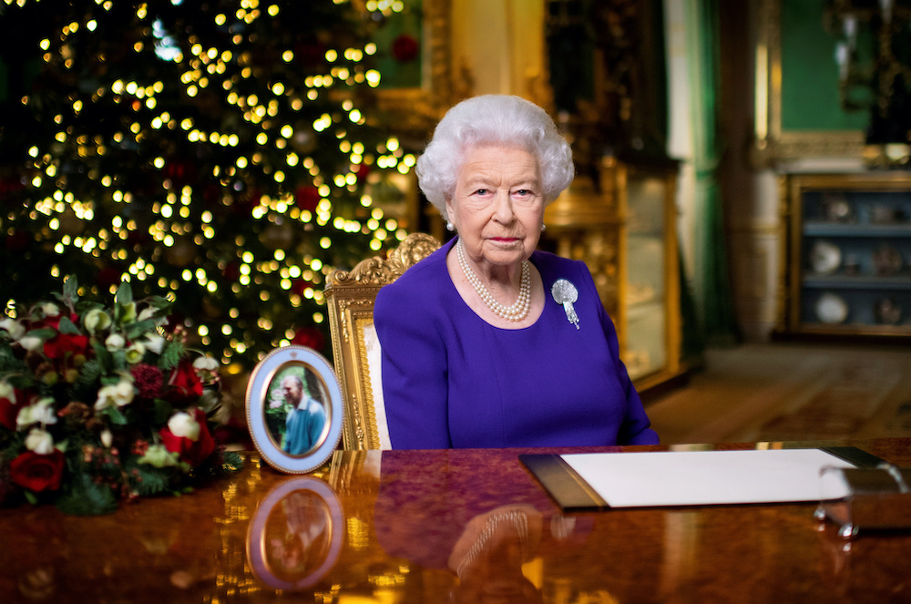 Britain's Queen Elizabeth II records her annual Christmas broadcast in Windsor Castle in England, December 24, 2020. — Reuters pic
