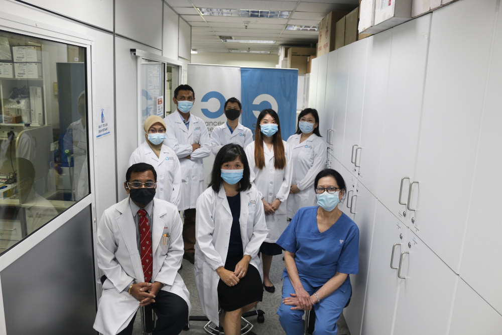 Cancer Research Malaysia chief scientific officer Prof Datin Paduka Dr Teo Soo Hwang (centre) and other scientists behind the breakthrough study that built the largest genetic database of Asian breast cancers. — Picture courtesy of Cancer Research Malaysia