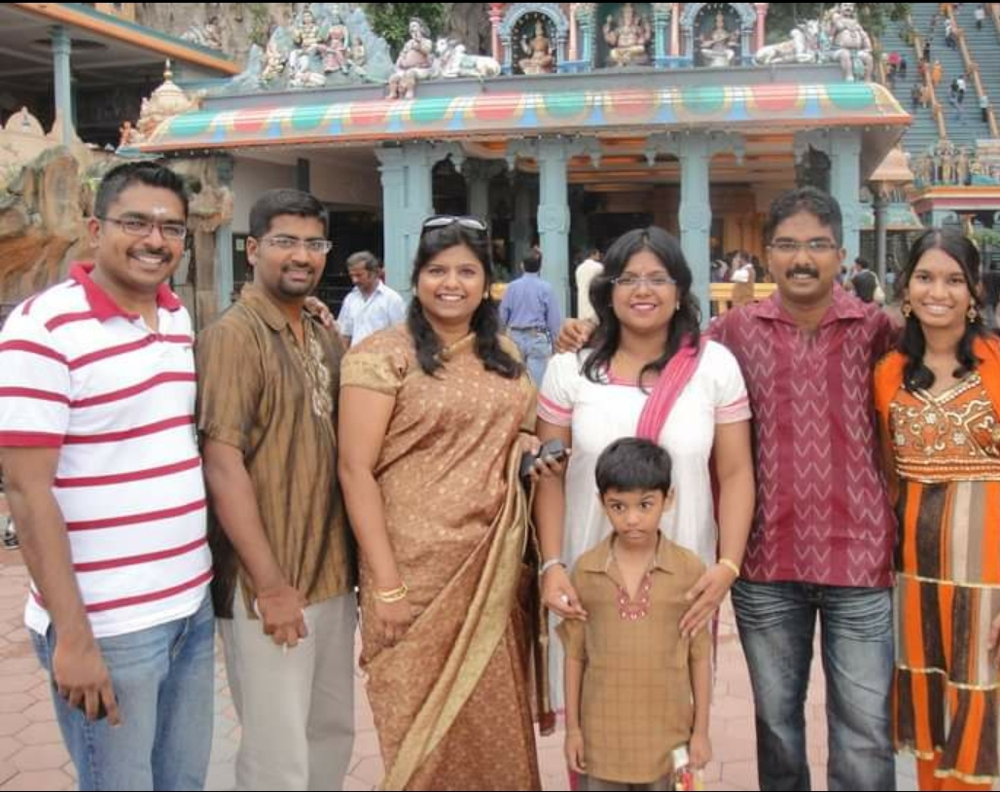 Sashitaran (in brown kurta) with his family members during one of the earlier Thaipusam celebrations. — Picture courtesy of Sashitharan Munusamy