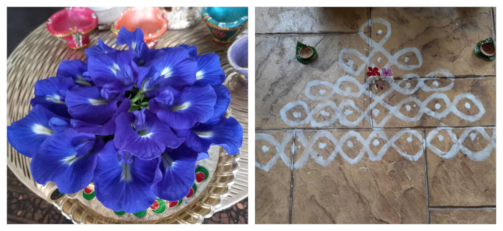 Sashitaran and his family have already decorated the house with kolam and flowers offered to the deities. — Picture courtesy of Sashitharan Munusamy